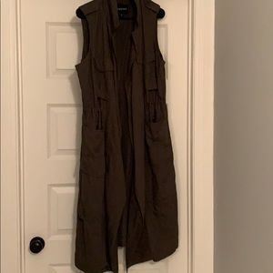 Army green long vest